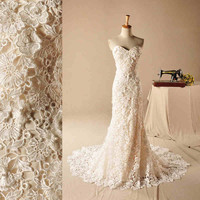 Floor length lace wedding dress, Mermaid lace wedding dress, Lace wedding gown plus size