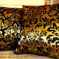 "Set of two 20"" pillows – Elegant black gold floral cover"