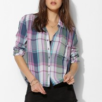 BDG Crinkle Roll-Sleeve Button-Down Shirt - Urban Outfitters