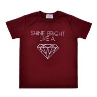 ZLYC Women's Shine Bright Like Diamond Print Casual T-shirt