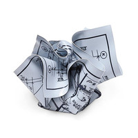 Crumpled Blueprints Paperweight