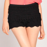 Zip Up Crochet Shorts in Black