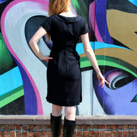 1950's Dress,VINTAGE, Wiggle, CROP TOP, Audrey Hepburn, Little Black Dress, Bombshell
