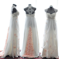 Custom Wedding Gown-Rachel- Blush and light ivory Silk Chiffon Lace Gown-made to order