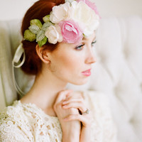 Silk Habotai Bridal Halo in Pink and Ivory