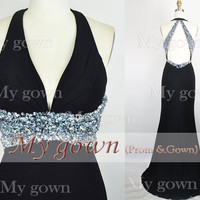 2014 Black Prom Dress, Straps Beads Crystal Draped Prom Dress, Wedding Dress, Evening Gown,Formal Dresses,Evening Dress,Bridesmaid Dress