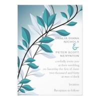 Elegant branch with blue leaves wedding invites