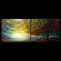 Silhouette tree painting 40 inch birds stars Surreal by mattsart