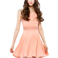 Papaya Clothing Online :: WAIST LACY TRIM FALRE DRESS