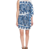 "Some of you have to get in on this: BCBGMAXAZRIA ""Leia"" Medium Chambray Scarf Print Asymmetrical Dress"