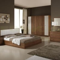 Tutto Mobili Italian Furniture - Tuttomobili Larissa White and Oak Bed Frame Only