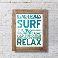 Surf Rules Poster / Print / Wall Art - Surf & Sand Background - Printable INSTANT DOWNLOAD