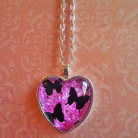 Black Butterflies glass dome heart necklace for tween or teen girl