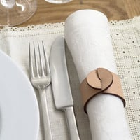 Leather napkin rings - set of four (4), circle motif - contemporary Scandinavian design - leather goods - vegetable tanned nude leather