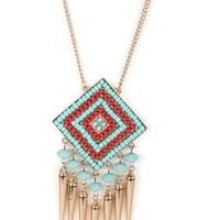 Long Necklace with Beaded Tribal Pendant with Fringe