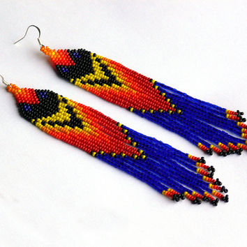 Native American Beaded Earrings inspired. Very Long Earrings. Fringe Earrings. Beadwork
