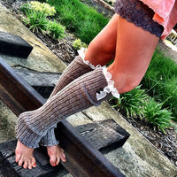Taupe Leg Warmers OTK Boot Sock LegWarmers with by ThreeBirdNest