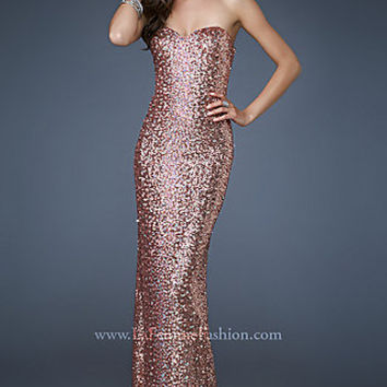 Long Strapless Sequin Evening Dress