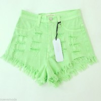 NEW! High Waist Mint Green Destroyed Shorts All Sizes NWT Made in USA