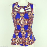Royal Blue Brocade Peplum Cut Out Top Sizes Small,Medium, or Large