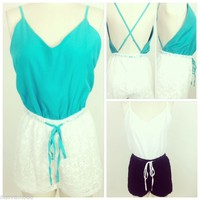 Mint or Black Color block Criss Cross Back Lace Bottom Romper Jumper Sizes S-M-L
