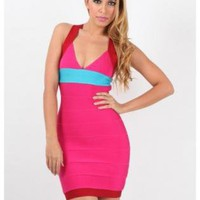 Multi Sexy Dress - Pink Blue and Red V-Neck | UsTrendy