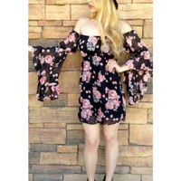 Black Long Sleeve Off the Shoulder Dress w/ Floral Print