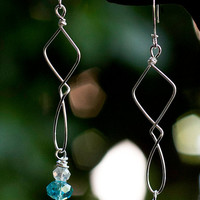 Diamond and teardrop shaped Sterling Silver earrings with blue Swarovski and clear crystal beads.