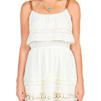 Belt Straps Tiered Dress - Cream