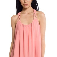 Head Turner Studded Strap Halter Neck Chiffon Tank Top - Peach