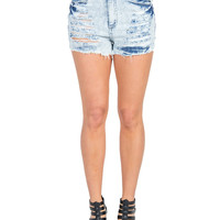 Light Washed High Rise Distressed Shorts