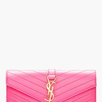 HOT PINK LEATHER QUILTED ENVELOPE CLUTCH