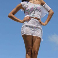 White Day Dress - White crochet beach dress | UsTrendy