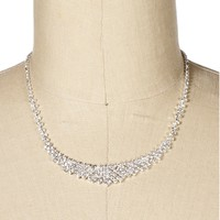 Silver Mini Rhinestone Bib Necklace Set