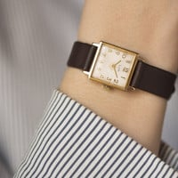 Square women's watch Ray gold plated wrist watch feminine watch premium leather strap new