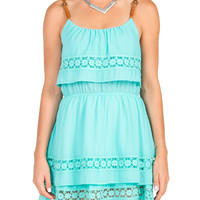 Belt Straps Tiered Dress - Mint