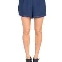 Pom Trim Lounge Shorts - Navy