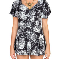 B&W Floral Button Down Romper