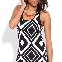 Tribal Print Tank with Three Strap Back