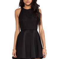 keepsake Almost Over Mini Dress in Black & Black Lace