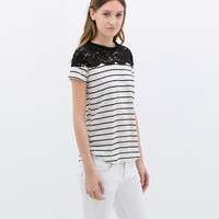 STRIPED LINEN T-SHIRT WITH LACE