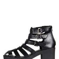 Chunky Heel Caged In Sandals