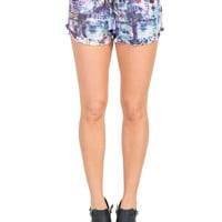 Abstract Pattern Ruffle Lounge Shorts