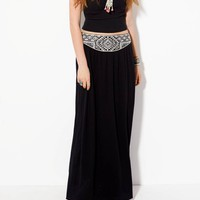 AE EMBROIDERED YOKE MAXI SKIRT