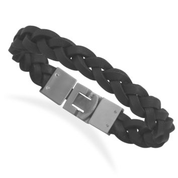 "8.5"" Braided Black Leather Bracelet with Stainless Steel Closure - Steel 'N Jewelry"