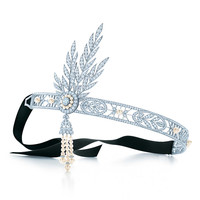 Tiffany & Co. - The Gatsby Collection Savoy headpiece in platinum with diamonds and pearls.