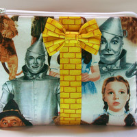 Wizard of Oz Makeup Bag / Cosmetics Pouch / Yellow Brick Road / Cosmetic Clutch / Make Up Purse / Dorothy Gale / Tin man / Cowardly Lion
