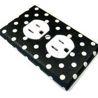Black and White Polka Dots Outlet Cover Electrical by ModernSwitch