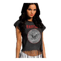 THE RAMONES - SEAL FRINGE TOP JUNIORS TEE