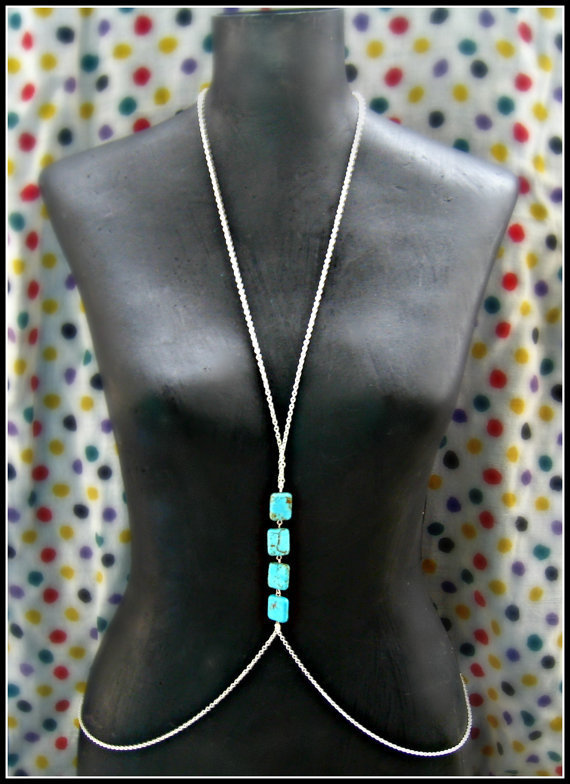 silver and turquoise body chain by alapopjewelry